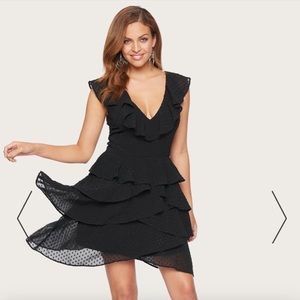 Bebe black dotted ruffle v neck/back mini dress